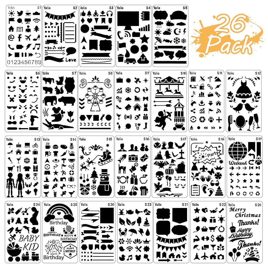 26 Packs Stencils for Journal and Diary DIY Drawing Stencils, Greeting Card Template