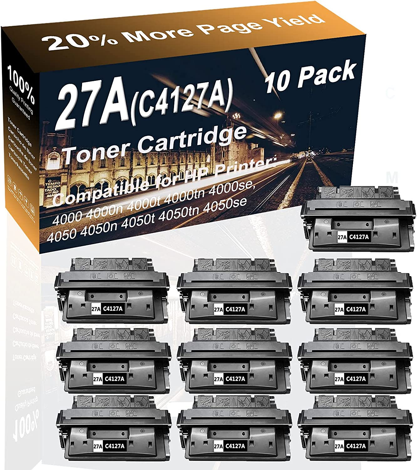 10-Pack (Black) Compatible High Yield 27A (C4127A) Printer Toner Cartridge use for HP 4050t, 4050tn, 4050se Printer