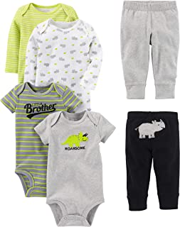 Baby Boys' 6-Piece Bodysuits (Short and Long Sleeve) and...