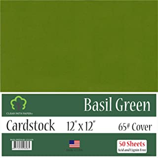 Basil Green Cardstock - 12 x 12 inch - 65Lb Cover - 50 Sheets