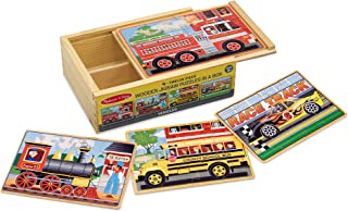 Melissa & Doug Vehicles Jigsaw Puzzles in a Box (Four Wooden Puzzles, Sturdy Wooden Storage Box, 12-Piece Puzzles, Great Gift for Girls and Boys - Best for 3, 4, 5, and 6 Year Olds)