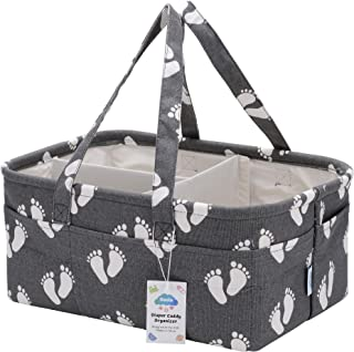 Geele Large Baby Diaper Caddy Organizer Bag, Portable Nursery Storage Bin for Changing Table, Car Travel Tote for Newborn & Infant, Foldable Compact Baby Basket, Strong Durable Cotton Canvas