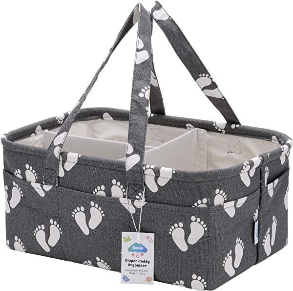 Large Baby Diaper Caddy Organizer Bag Portable Nursery Storage Bin For Changing Table Car Travel Tote For Newborn Infant Foldable Compact Baby Basket Strong Durable Cotton Canvas