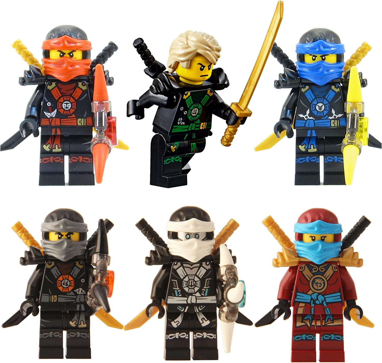 LEGO Ninjago  Ninja's set of 6 - Lloyd, Nya, Zane, Cole, Jay, Kai Deepstone Minifigures