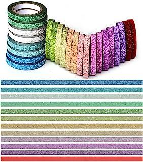 YUKUNTANG Skinny Glitter Paper Washi Tape Set 24 Rolls 12 Color Masking Tape for DIY Crafts Book Designs