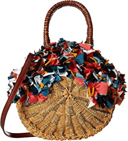 Kiran Round Straw Tote w/ Raw Fabric Detail