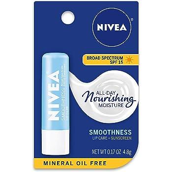 NIVEA Smoothness Broad Spectrum SPF 15 Sunscreen Lip Care, 0.17 Oz (2 Pack)
