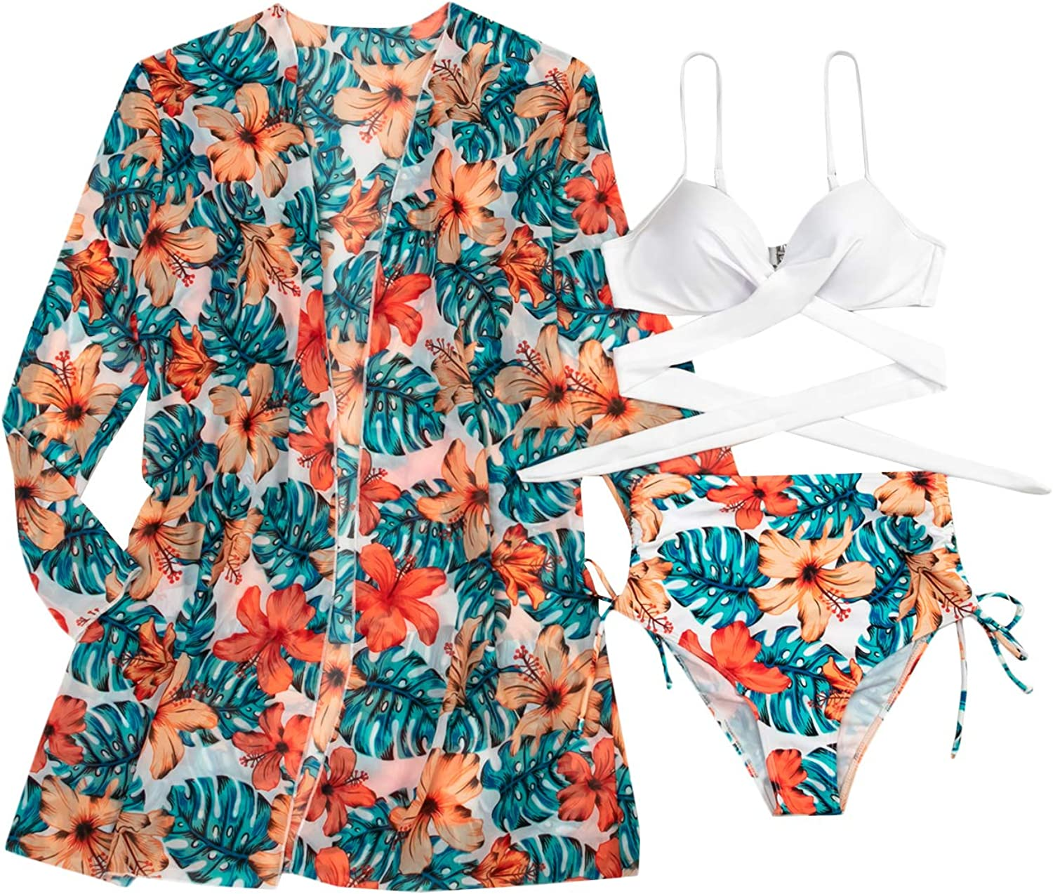 Verdusa Womens 3 Piece Floral Triangle High Waist Bikini Swimsuit with Cover Up