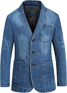 Men's Classic Notched Collar 3 Button Tailoring Distressed Denim Blazer Jacket