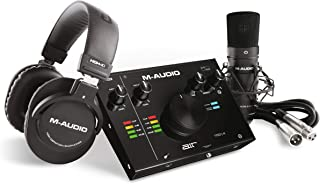 M-Audio - Complete Recording Bundle - USB Audio Interface, Microphone, Shock mount, Cable, Headphones and Software Suite -...