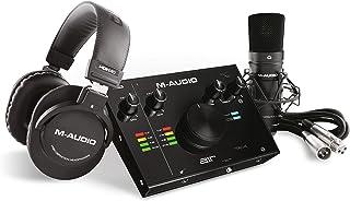 M-Audio - حزمة تسجيل كاملة - واجهة صوت USB وميكروفون وتركيب صدمة وكابلات وسماعات رأس وجناح البرامج - AIR 192|4 Vocal Studi...