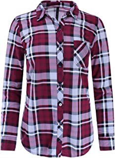 Ladies' Code Women's Knit Plaid Button Down Shirt Roll up Sleeve