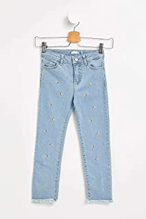 DeFacto Frayed Trim Straight-Leg Floral Embroidered Jeans for Girls - Light Blue