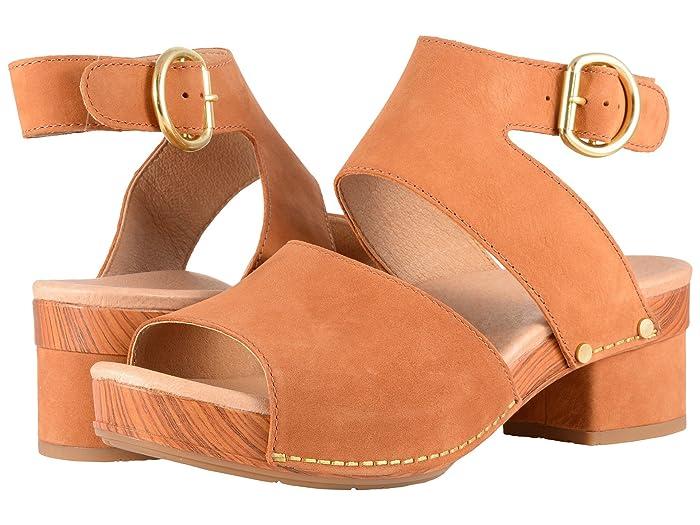 60s Shoes, Boots Dansko Minka Camel Milled Nubuck Womens Toe Open Shoes $139.95 AT vintagedancer.com