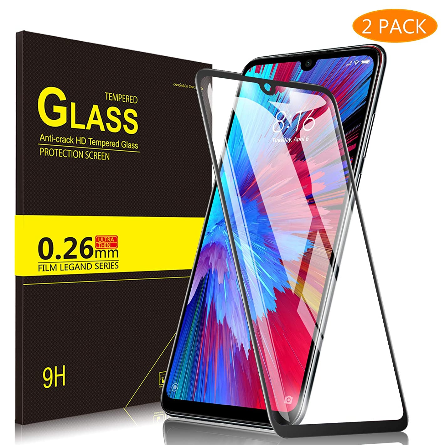 Yocktec CUBOT X19 Screen Protector, [9H Hardness] [Full Coverage] Protective Film HD Clear Tempered Glass Screen Protector for CUBOT X19 2019 Smartphone (Black)
