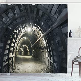 (180cm W By 210cm L, Multi 1) - Horror House Decor Shower Curtain by Ambesonne, Underground Road Scene in Mining Tunnel Ro...
