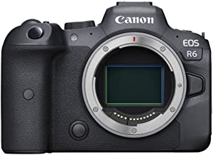 Canon EOS R6 Full-Frame Mirrorless Camera with 4K Video, Full-Frame CMOS Senor, DIGIC X Image Processor, Dual UHS-II SD Memory Card Slots, and Up to 12 fps with Mechnical Shutter, Body Only, Black