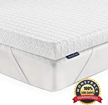 Inofia Mattress Topper Queen, 2.5 Inch Eco-Green Memory Foam Mattress Topper with Washable Tencel Cover, Non-Slip Bottom & Corner Straps for a Secure Fit, 100-Night Trail at NO Risk - Queen