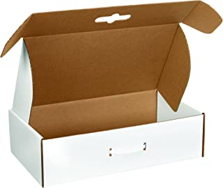 Boxes Fast BFMCC4 Cardboard Carrying Cases, 18 1/4 x 11 3/8 x 4 1/2 Inches, Corrugated Die-Cut Boxes with Handles, Large White Mailing Boxes (Pack of 10)