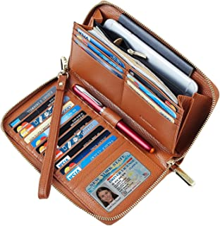 Chelmon Womens Wallet Geunine Leather RFID Blocking Purse Credit card Clutch