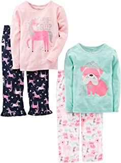 Little Kid and Toddler Girls' 4-Piece Pajama Set (Cotton...