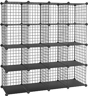 SONGMICS 16 Cubes de Rangement en Treillis Metallique, Placard, Armoire avec Étageres Modulaires, Noir LPI44H