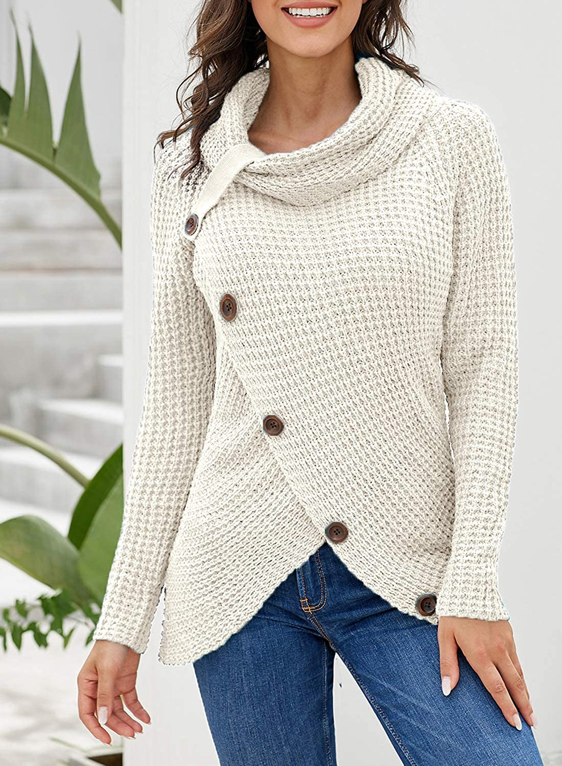 Asvivid Button Cowl Neck Sweaters for Women Long Sleeve Asymmetric Wrap Pullover Sweater Jumper Tops