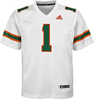 Outerstuff NCAA Miami Hurricanes Youth Boys Player Replica Fashion Football Jersey, X-Large (18), White