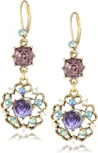 Betsey Johnson Carved Flower Medallion and Crystal Gem Drop Earrings