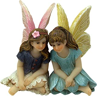 PRETMANNS Fairy Garden Fairies – Fairy Figurines – 2 Cute Sitting Fairies – Best Friends Fairies 1 Piece - Fairy Garden Supplies