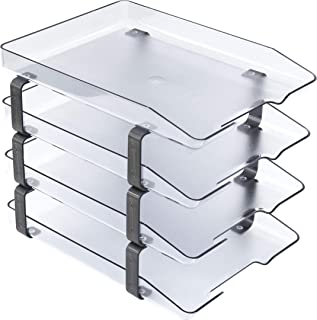 Acrimet Traditional Letter Tray 4 Tier Front Load Plastic Desktop File Organizer (Clear Crystal Color)