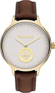 Timberland Norwell Women's Analogue Quartz Watch with White Dial and Dark BROWN Leather Strap - TBL.15645MYG-01