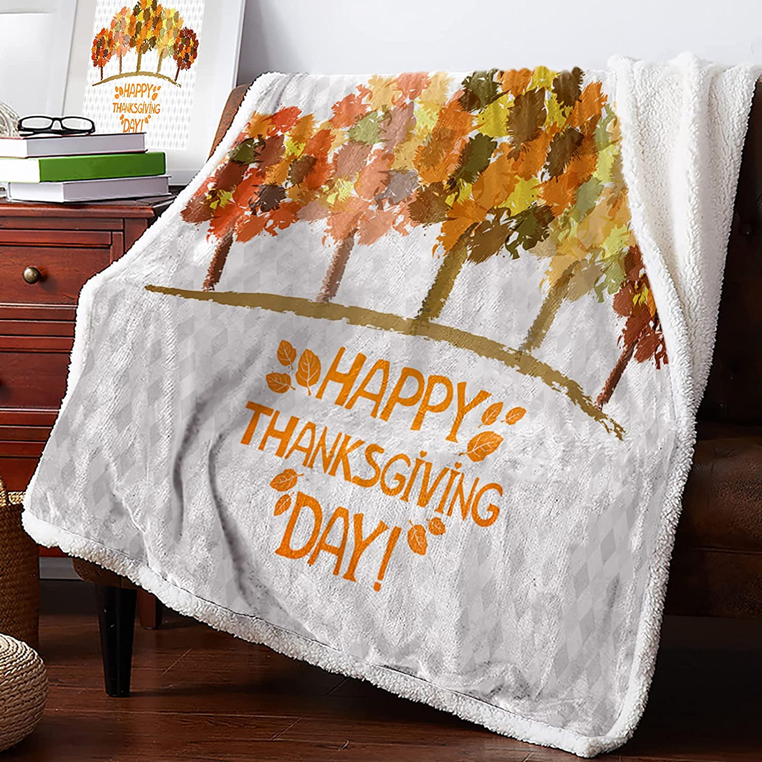 MuswannaA Sherpa Max 75% OFF Fleece 2021 autumn and winter new Throw Blanket Happy Thanksgiving Sup Day
