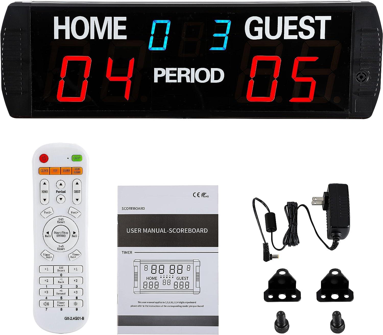Spolehli Marcador LED 6 dígitos Marcador digital electrónico Multideporte uso interior con control remoto Marcador digital para baloncesto, fútbol, voleibol, tenis de mesa