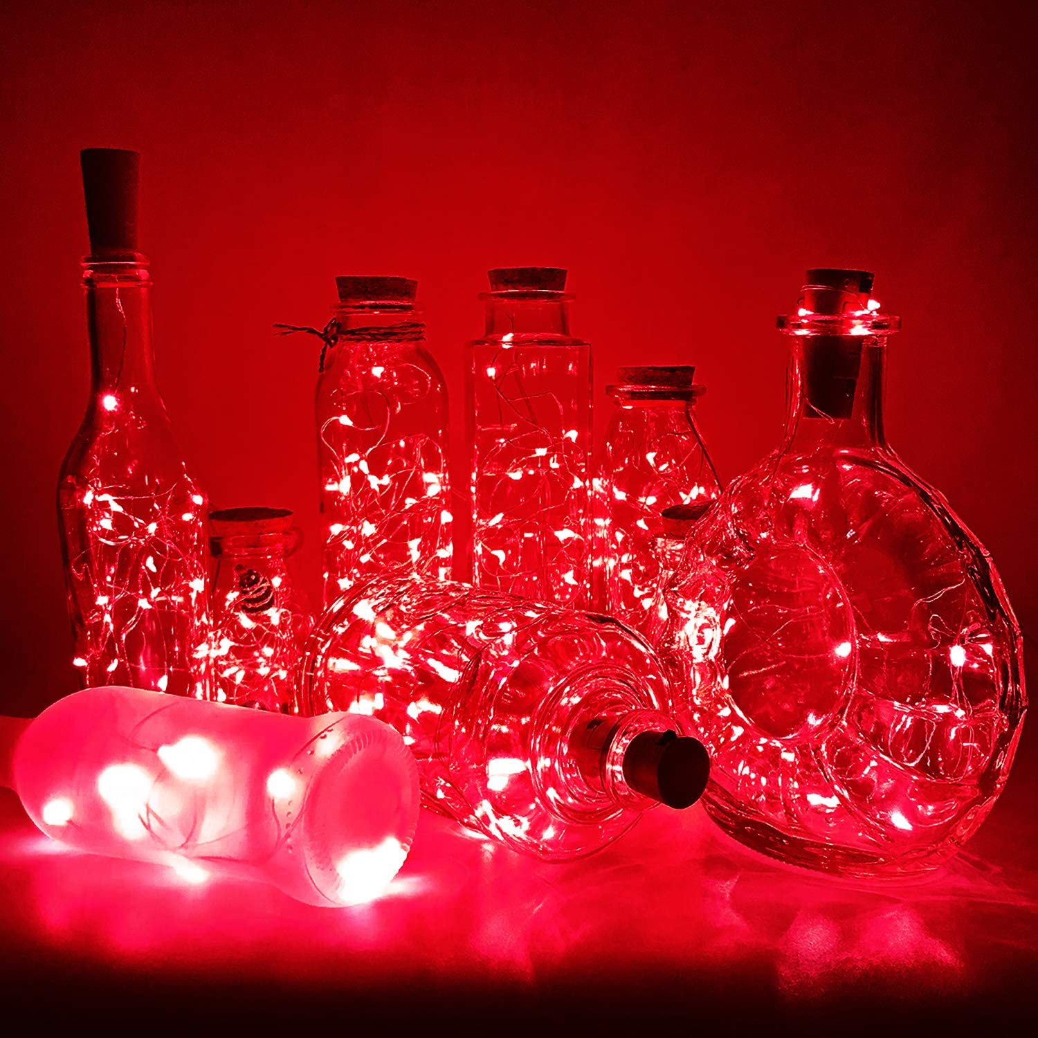Max 59% OFF PheiLa 10 Pack Wine Bottle Battery Christmas Some reservation Lights O Red