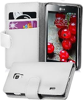 f3a3c09fe39 Cadorabo LG Optimus L7 II Funda de Cuero Sintético Estructura en Blanco  MAGNESIO Cubierta Protectora Estilo