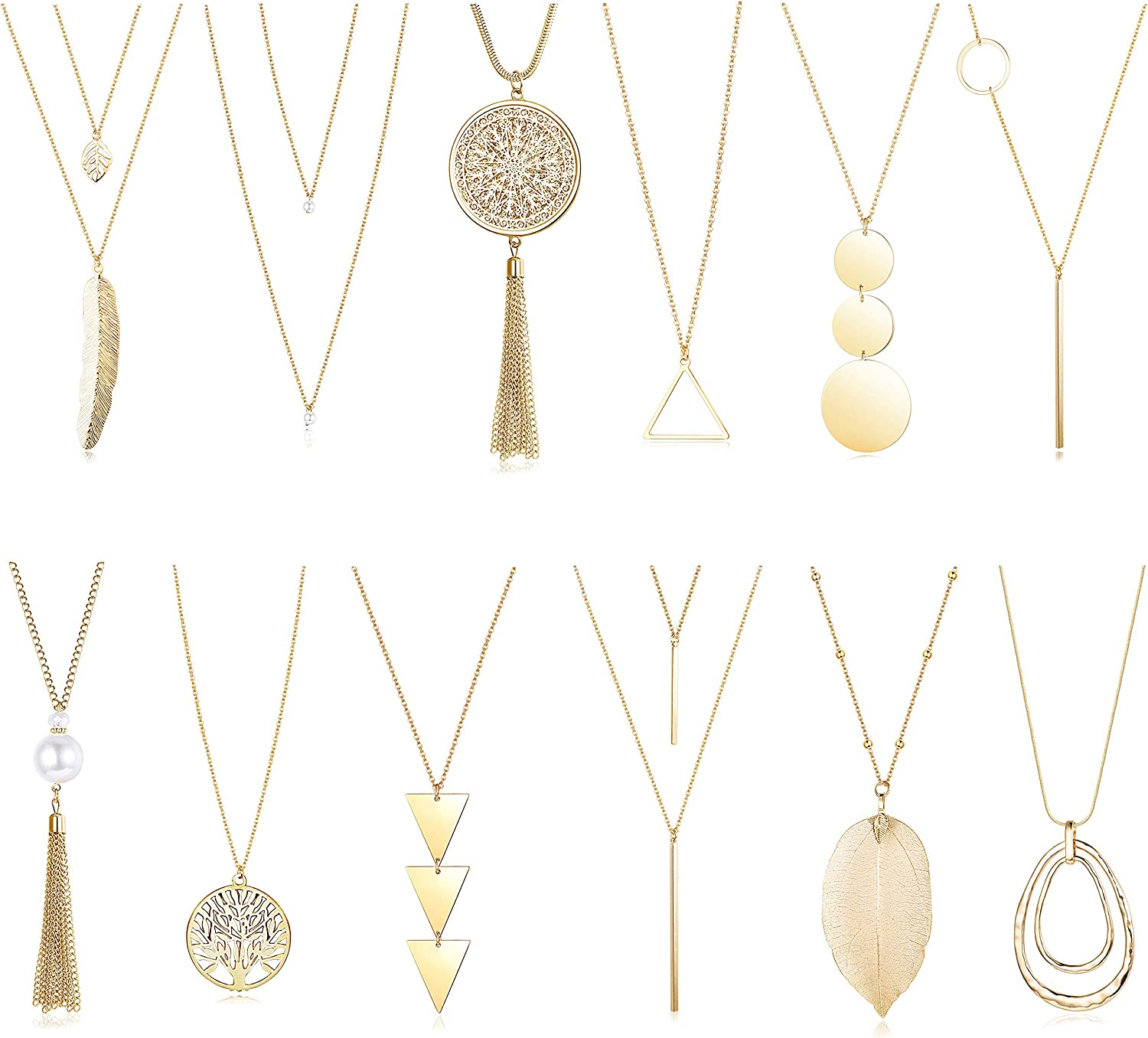 FINREZIO 12PCS Long Pendant Necklace for Women Simple Three Triangle Arrow Circle Leaf Tree Pearl Knot Tassel Y Strands Statement Necklaces Set