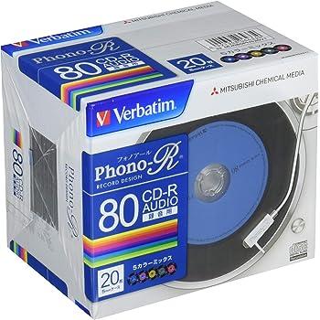 バーベイタムジャパン 三菱ケミカルメディア Verbatim 音楽用 CD-R MUR80PHS20V1 (Phono-R 5色/1-24倍速/20枚) カラーミックス