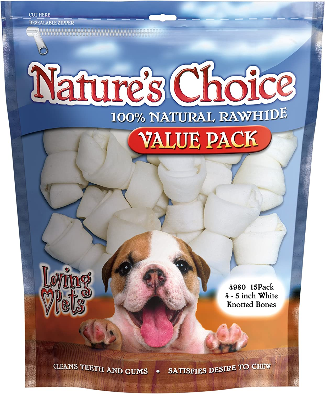 Loving Pets Nature'S Choice 100Percent Natural Rawhide White Knotted Bones Dog Treat, 45Inches, 15 Pack