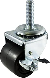 """CasterHQ - 2"""" Low Profile HD - 1/2""""- 13x 1"""" STEM Caster with Brake - 200lb Capacity"""