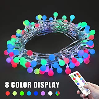 woohaha 8 Vibrant Color Change Globe Ball String Lights, 32ft 96LED RGB Decorative Fairy Lights, 52 Modes with Remote, Plug in Christmas Lights with 6V Safe Voltage(96LED, RGB)