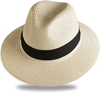 FURTALK Panama Roll up Hat Fedora Beach Sun Hat UPF50+ Braid Straw Short Brim Jazz Panama Cap for Women Men
