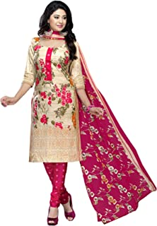 d9f738b141 AngelFab Women's Cotton Printed Salwar Suit Dress Material new04_Pink and  White_Free Size