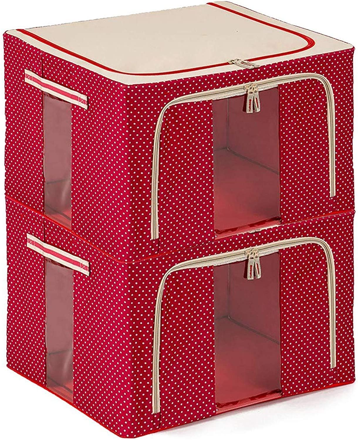 JJMG Stackable Polka Dots Oxford Cloth Steel Frame Shelf Quilt Clothing Blanket Pillow shoes Storage Box Holder Container Organizer See-Through Window Double Zipper Folding- Red 66L 20 x16 x13  (3)