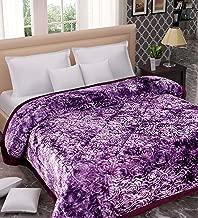TIB Soft Microfibre Velvet Heavy Quilt for Winter, Double Bed, Purple 4.5 kg Razai