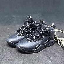 Pair Air Jordan X 10 High Retro Dark Shadow OVO Black OG Sneakers Shoes 3D Keychain 1:6 Figure