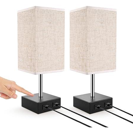 Lampe de Chevet, Lovebay Lampe de Table Tactile avec 2 Ports USB, 3 Niveaux de Luminosité RéGlables E27 Lampe de Chevet Moderne pour Chambre Table Salon Bureau, Lot de 2