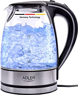 Germany technology Glass Kettle adler europe 2200W Electric tea water boiler 1.7 L BPA Free with Blue LED Indicator Light-...
