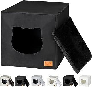 Cama de Gato by Incl. cojín | Casa de Gato Adecuada para IKEA Kallax & Expedit | Cueva Comoda en Gris óptica de Fieltro | Diseño Elegante y Moderno | (Black Premium)