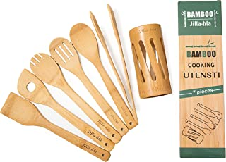 Wooden Spoons for Cooking, 7Piese Set, Organic Bamboo Cooking Utensils, Nonstick Kitchen Utensil Set, Wooden Spoons & Spat...